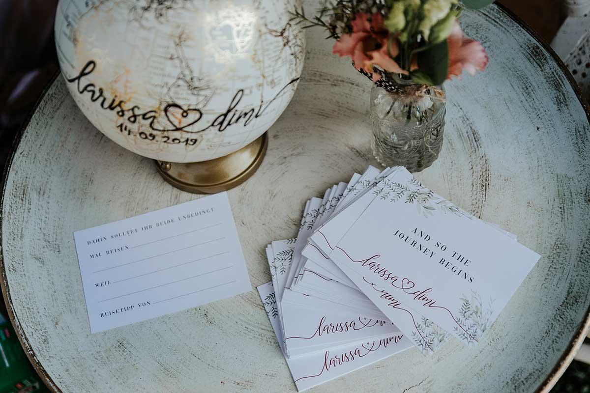 Gästebuchkarten bei der Hochzeit