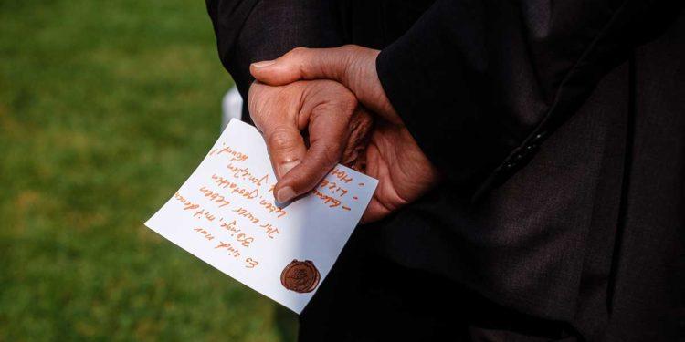 Vom Gast beschriebenes Blatt als Erinnerung