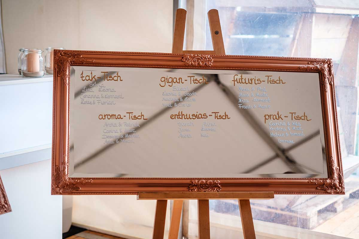 Spiegel als Sitzplan bei der Hochzeit