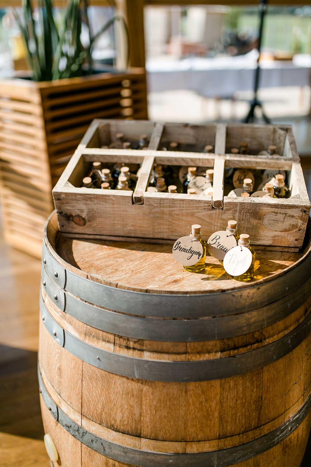 Olivenöl als Gastgeschenk bei der Hochzeit