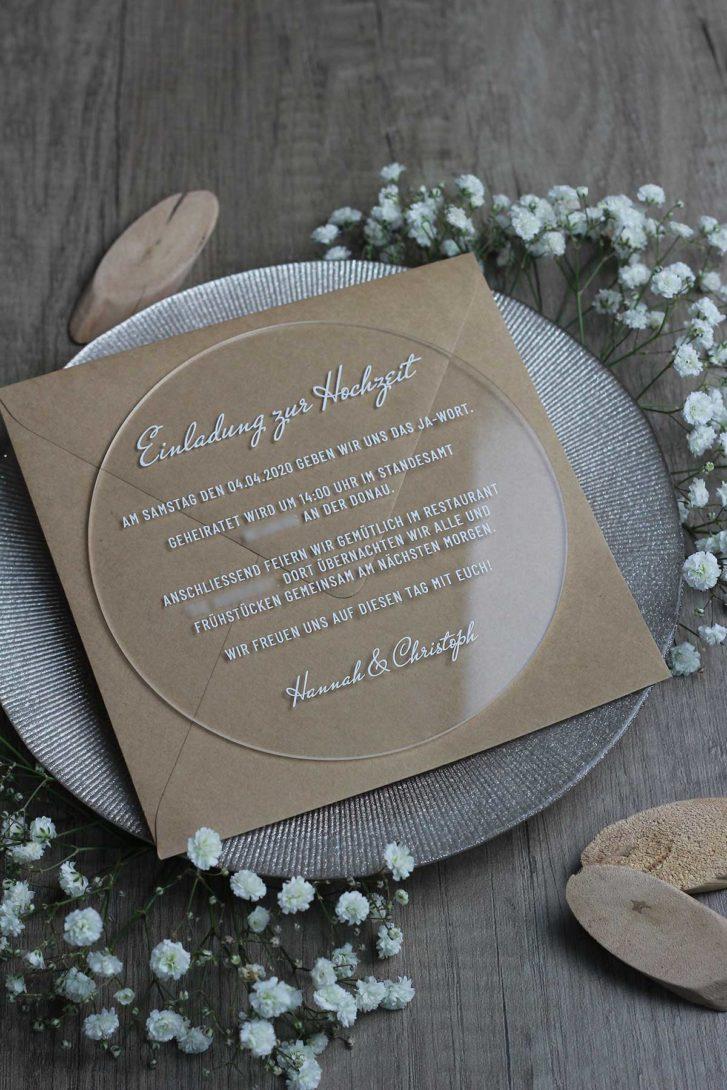 Beispiel für eine runde Acryl Hochzeitseinladung