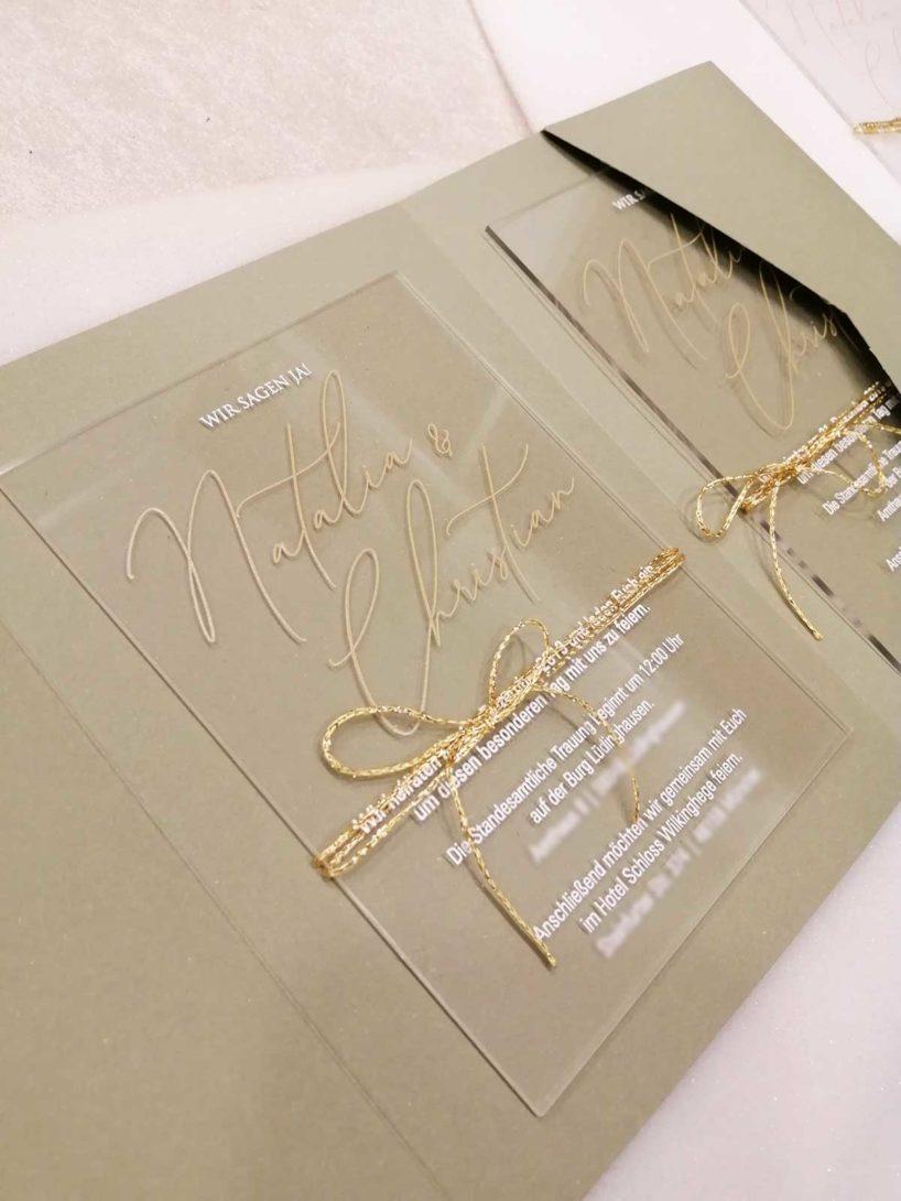 Beispiel für eine Acryl Hochzeitseinladung