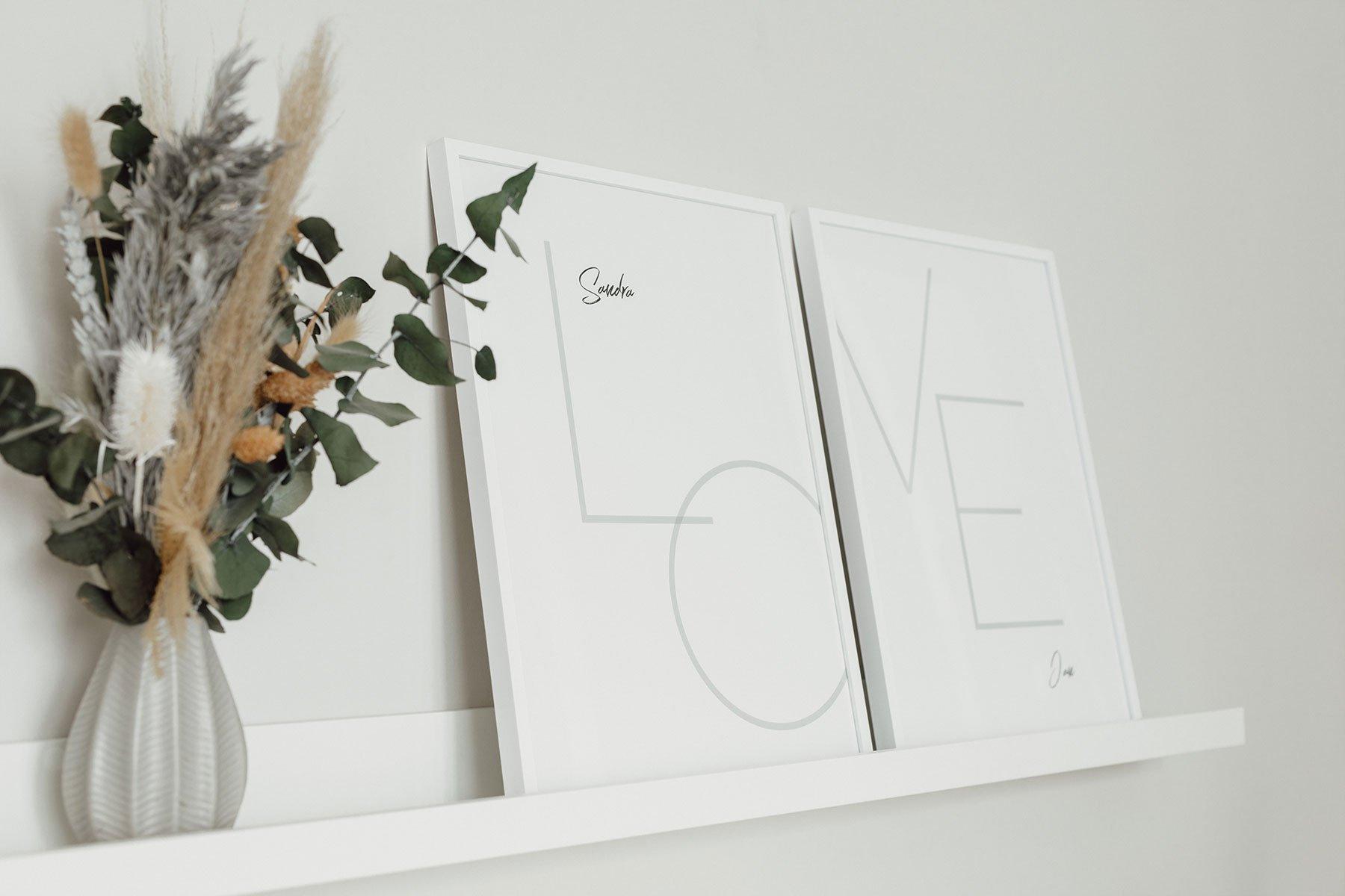 LOVE Poster im Alurahmen