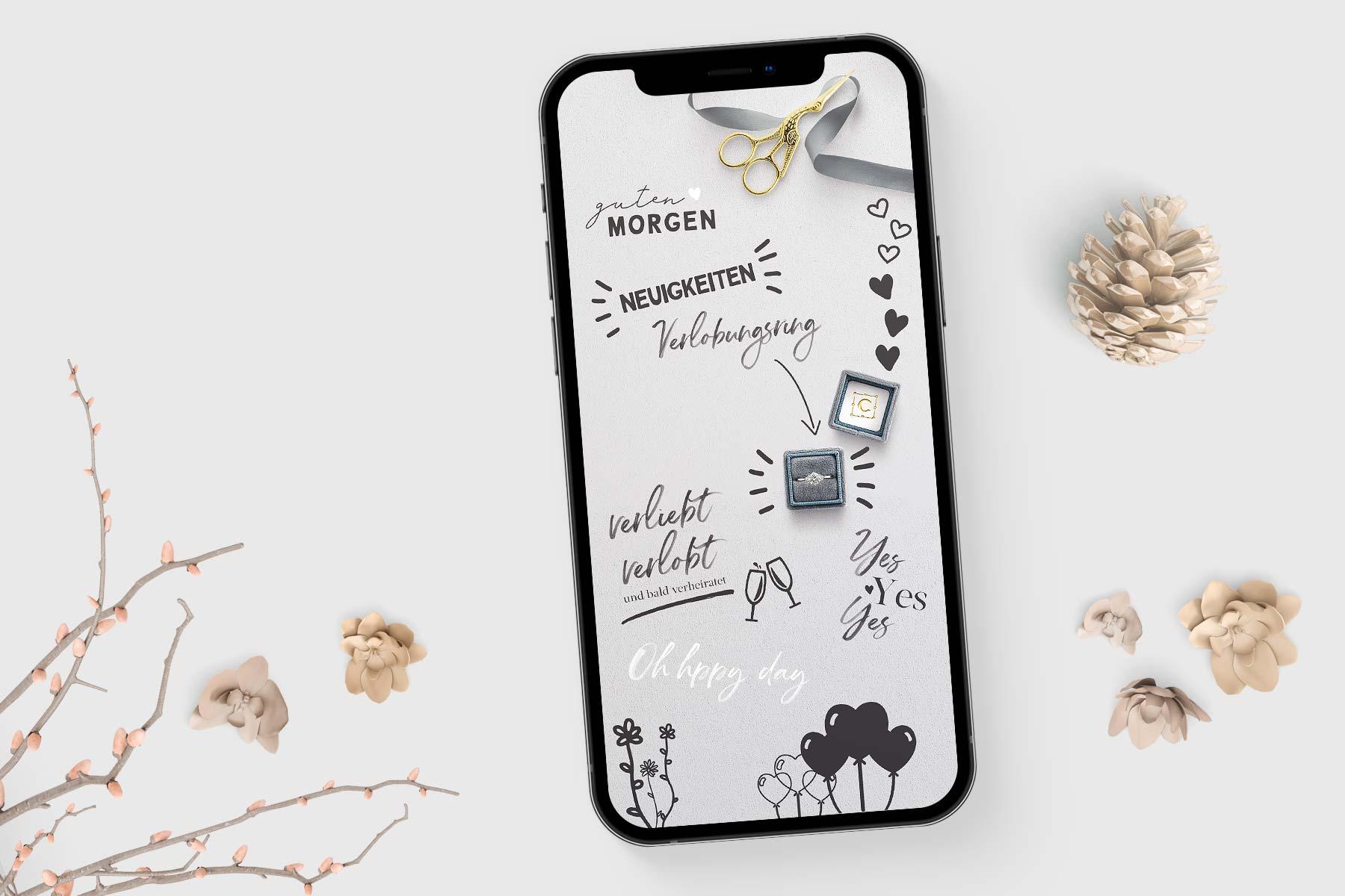 Kostenlose Story Sticker zum Thema Hochzeit